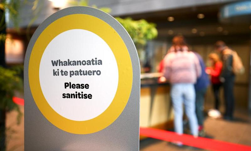 Health and safety signage during the reopening of the Te Papa museum in Wellington