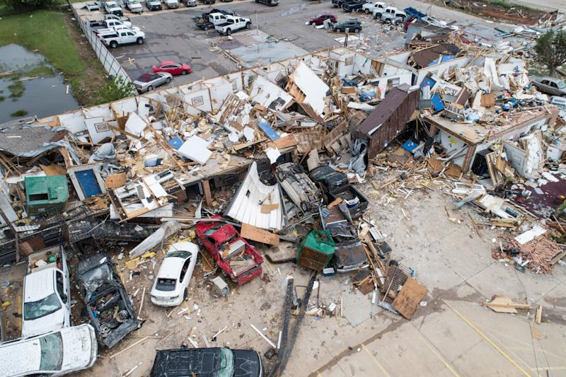 Damage to the American Budget Value Inn in El Reno, Okla., is seen in an aerial photo. (Photo: Richard Rowe/Reuters)