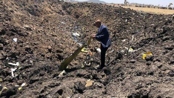 PHOTO: The site where an Ethiopian Airlines flight crashed on March, 10, 2019. (Ethiopian Airlines)