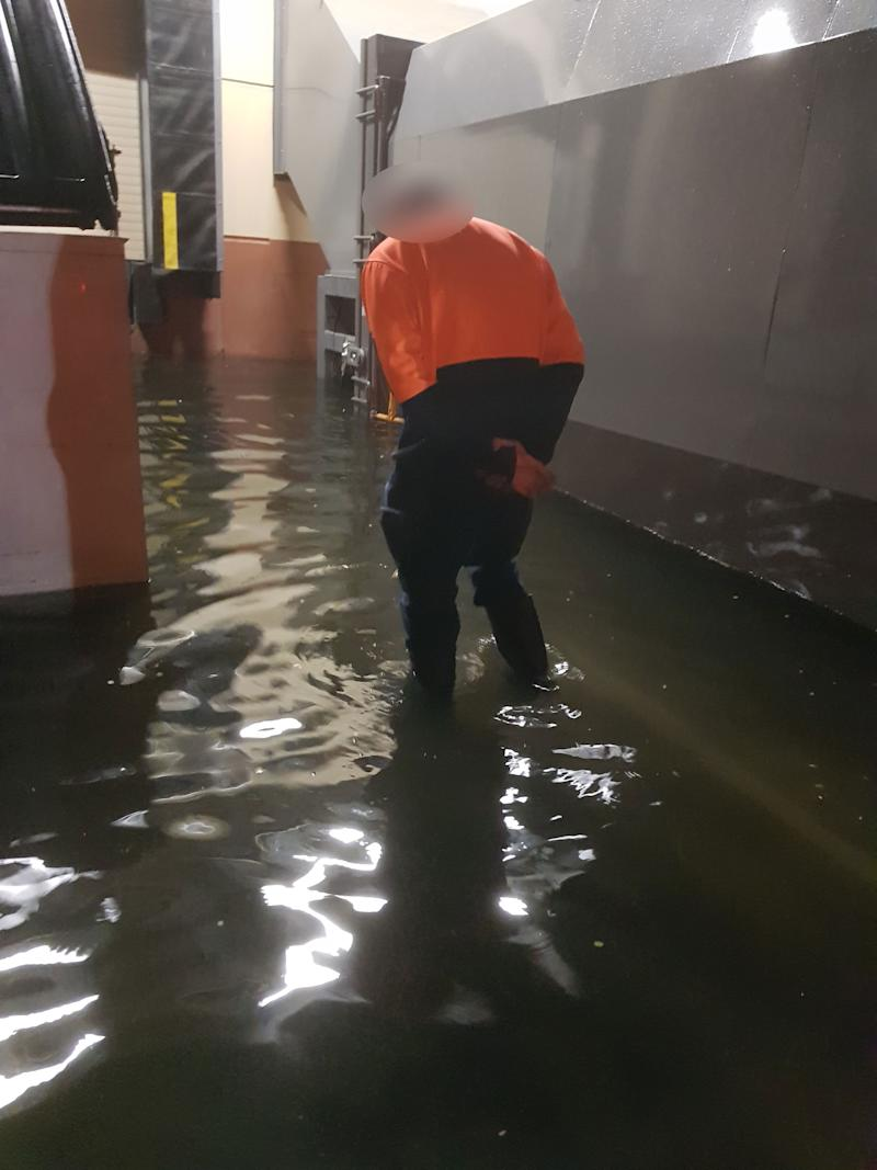 Flooding in Aldi warehouses. (Source: Supplied)