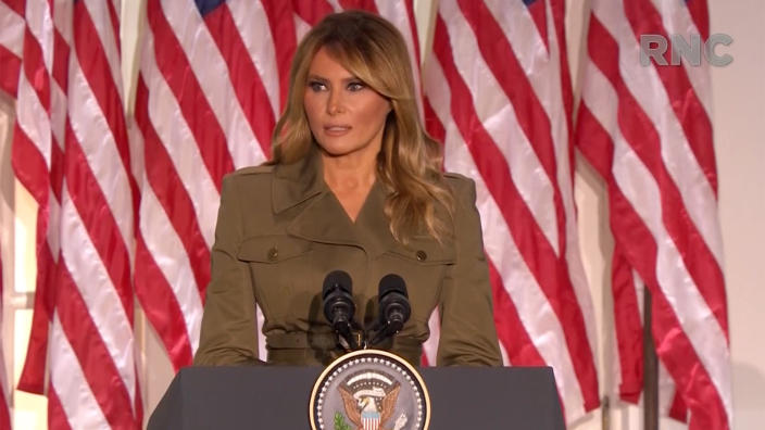 Melania Trump speaks during the virtual Republican National Convention on August 25, 2020. (via Reuters TV)