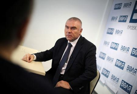 Mareshki, leader of Will party speaks during an interview with Reuters in his party's office in Sofia