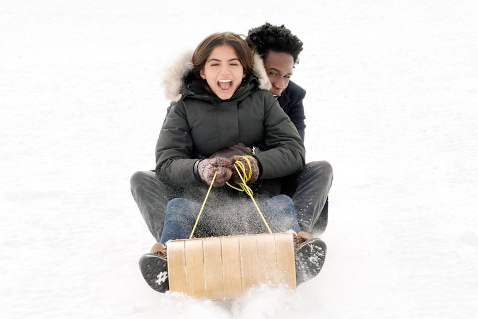 """<p> Combine a snow day, a small town, and lots of teenage hormones and what do you get? A romantic drama, of course! <strong><a href=""""https://www.popsugar.com/entertainment/what-is-netflix-let-it-snow-movie-about-46791522"""" class=""""link rapid-noclick-resp"""" rel=""""nofollow noopener"""" target=""""_blank"""" data-ylk=""""slk:Let It Snow"""">Let It Snow</a></strong> tells the story of a group of high school students who, thanks to a raging snowstorm and a deserted pop star, attend a party on Christmas Eve. Love triangles, long walks in the woods, and an adorable sledding scene are just a few of the ever-so-cheesy things that take place - and we love every minute of it! </p>"""