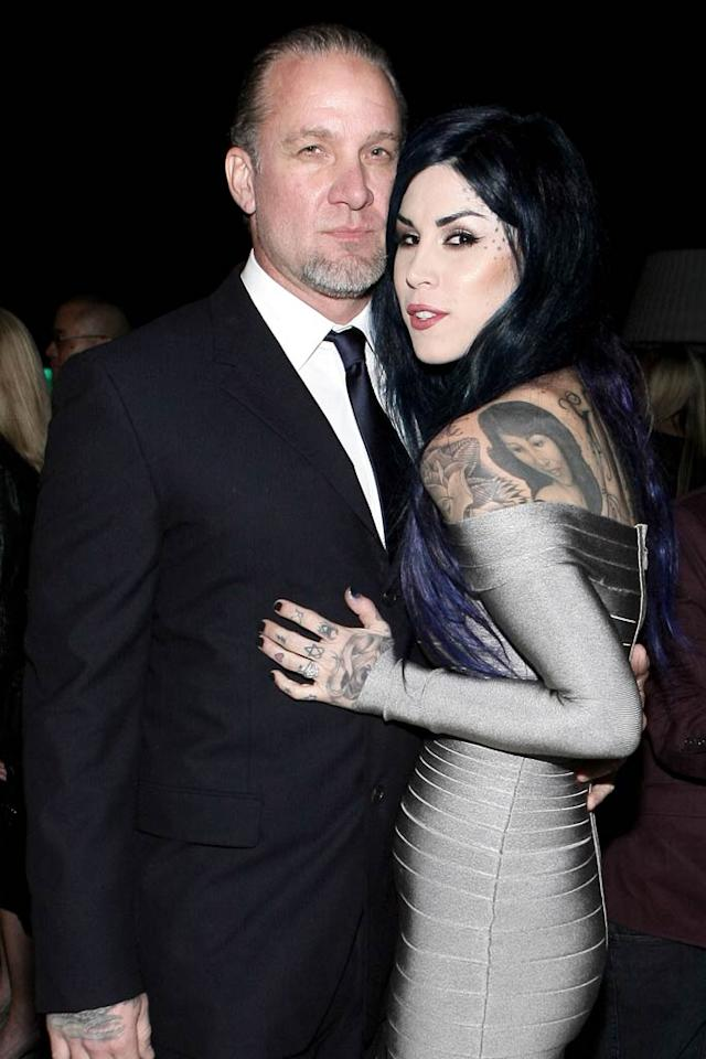 """Though motorcycle man Jesse James freely admits he cheated on Sandra Bullock during their marriage, he insists that he and his now fiancé, tattoo artist Kat Von D, were just close pals until <i>after</i> his split from Sandra. """"2010 was actually the best year of my life because I fell in love with my best friend,"""" Jesse said in a statement in January, """"an amazing woman who stood behind me when the world turned their backs."""" Jerod Harris/<a href=""""http://www.wireimage.com"""" target=""""new"""">WireImage.com</a> - January 15, 2011"""