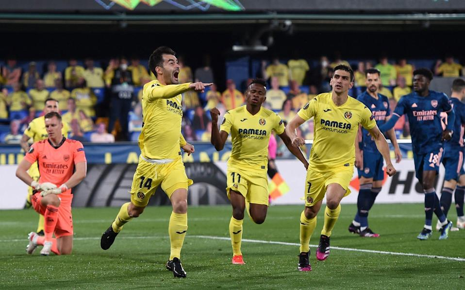 Manu Trigueros wheels away after scoring the opener for Villarreal with five minutes gone - GETTY IMAGES