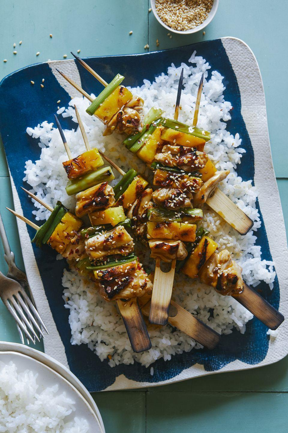 """<p>Yakety yak!</p><p>Get the recipe from <a href=""""https://www.delish.com/cooking/recipe-ideas/recipes/a53974/teriyaki-chicken-and-pineapple-yakitori-recipe/"""" rel=""""nofollow noopener"""" target=""""_blank"""" data-ylk=""""slk:Delish"""" class=""""link rapid-noclick-resp"""">Delish</a>. </p>"""