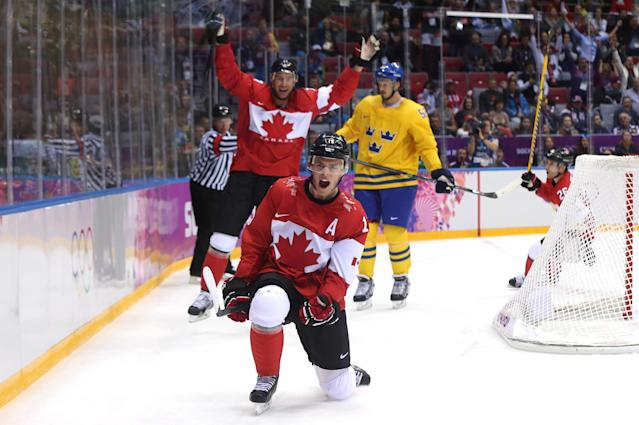 SOCHI, RUSSIA - FEBRUARY 23: Jonathan Toews #16 of Canada celebrates after scoring a first-period goal against Henrik Lundqvist #30 of Sweden during the Men's Ice Hockey Gold Medal match on Day 16 of the 2014 Sochi Winter Olympics at Bolshoy Ice Dome on February 23, 2014 in Sochi, Russia. (Photo by Bruce Bennett/Getty Images)