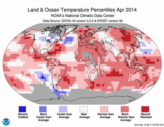 April 2014 Ties for Globe's Warmest on Record