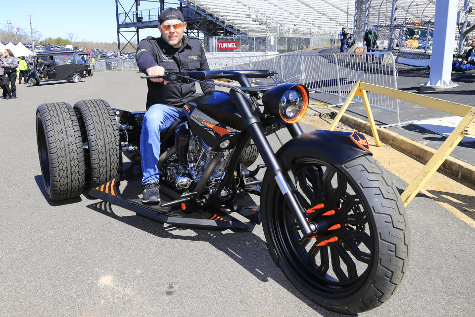 MARTINSVILLE, VA - MARCH 23:  Grand Marshal Paul Teutul, Jr. prior to giving the command to the drivers to start their engines for the 21st running of the NASCAR Gander Outdoors Truck Series TruNorth Global 250 race on March 23, 2019 at the Martinsville Speedway in Martinsville, VA.  (Photo by David John Griffin/Icon Sportswire via Getty Images)