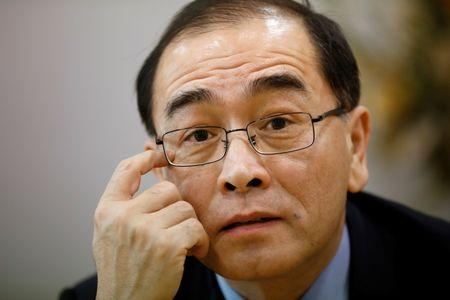 FILE PHOTO: Thae speaks during an interview in Seoul