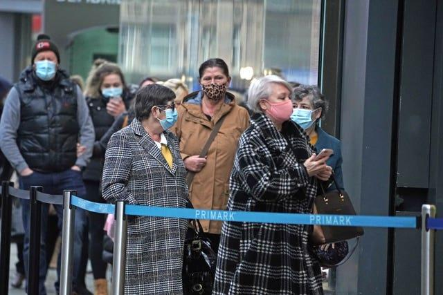 People queueing outside Primark in Newcastle in early Decembe