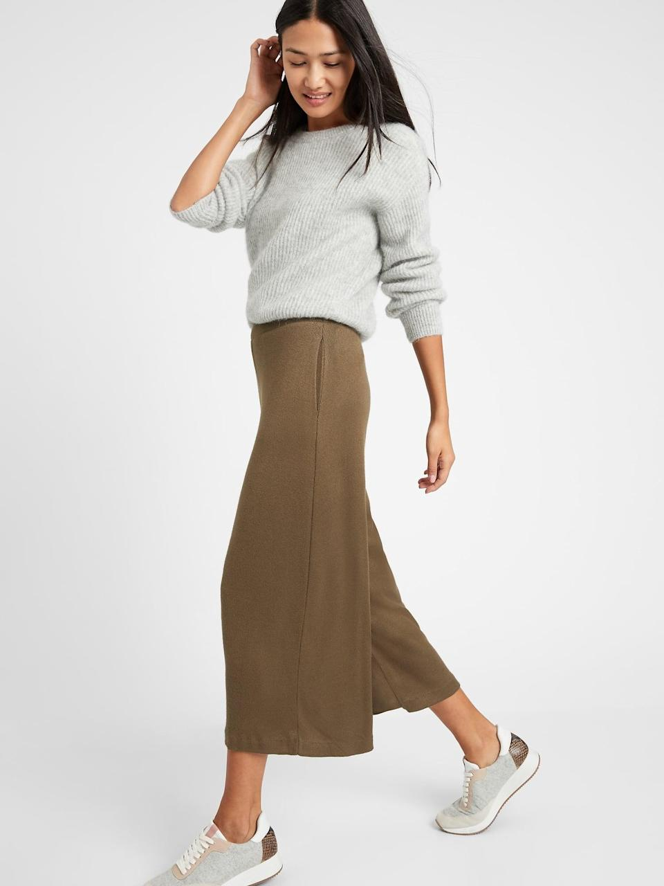 <p>Stay cozy all day in these <span>Banana Republic Ribbed-Knit Wide-Leg Lounge Pants</span> ($51, originally $70).</p>