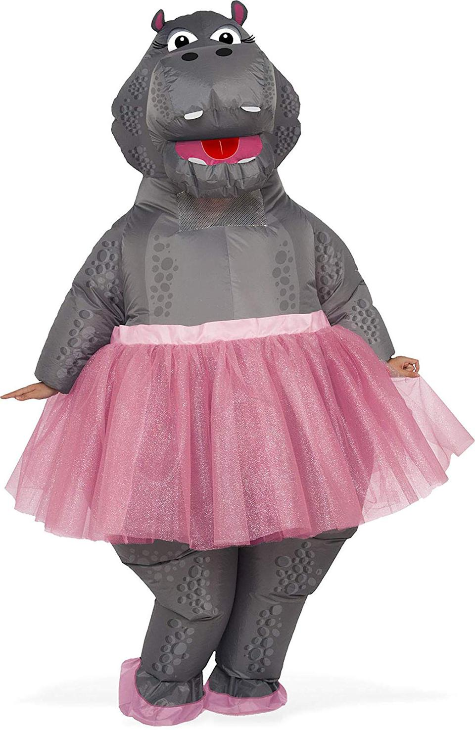 """<h2>Inflatable Hippo Ballerina Costume<br></h2><br><strong>What is it?</strong> An inflatable nylon hippo suit complete with glitter-encrusted tutu<br><br><strong>What the hottest take?</strong> """"After weeks of self isolating and daily Zoom meetings, I decided to show up to our video meetings in costume. After two weeks of meetings, I was running out of costumes at home, so I took to Amazon to search for the perfect costume. This hippo was very well priced, so I decided to invest in my personal amusement. To my surprise, my boss called us all back to the office the day after my package arrived, so I planned to wear this lovely hippo to our first day back to the office. Not only was it so much fun skipping down the sidewalk to my office in a giant hippo but the reaction of everyone at the office was priceless. Two thumbs way up! This is going to get used again and again.""""<br><br><strong>Rubie's Costume Co.</strong> Inflatable Ballerina Hippo Costume, $, available at <a href=""""https://amzn.to/2OfCpw2"""" rel=""""nofollow noopener"""" target=""""_blank"""" data-ylk=""""slk:Amazon"""" class=""""link rapid-noclick-resp"""">Amazon</a>"""