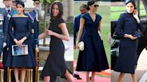 <p>Navy is definitely Meghan's colour, we've seen her wear it on numerous occasions including most recently at Princess Eugenie's wedding. Photo: Getty </p>