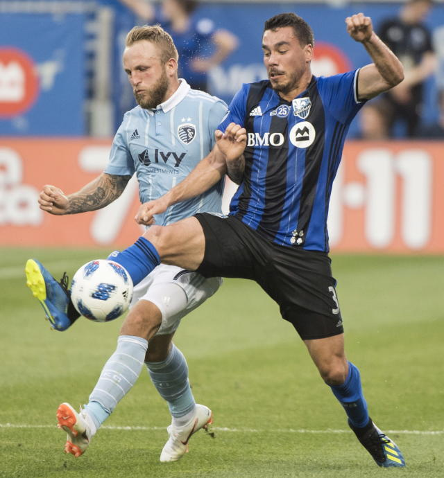 Montreal Impact's Daniel Lovitz, right, challenges Sporting Kansas City's Johnny Russeli during the first half of an MLS soccer match Saturday, June 30, 2018, in Montreal. (Graham Hughes/The Canadian Press via AP)