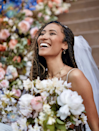 These goddess box braids include a mix of actual braids and wavy, curled hair in select spots which evokes a free-spirited vibe (that's—yes—stunning for weddings!).