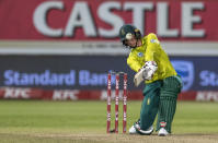 South Africa's batsman Rassie van der Dussen plays a shot during the 2nd T20 cricket match between South Africa and England at Kingsmead stadium in Durban, South Africa, Friday, Feb. 14, 2020. (AP Photo/Themba Hadebe)