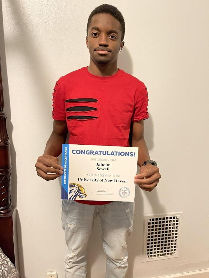 Jaheim Sewell, a senior at James Hillhouse High School in New Haven, Conn., helped three friends apply to college who, he said, would not have done so otherwise. He has been accepted to four so far, including the University of New Haven.