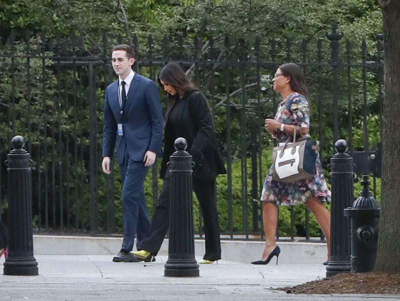 Kim Kardashian and her attorney Shawn Holley, right, arrive at the White House on May 30, 2018, to speak with President Trump about getting clemency for Alice Marie Johnson. (Photo: Pablo Martinez Monsivais/AP)