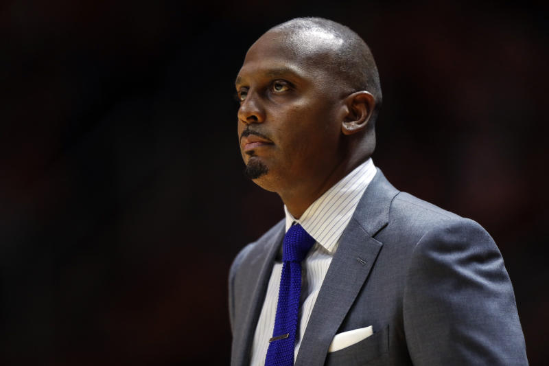 Memphis head coach Penny Hardaway watches action during the first half of an NCAA college basketball game against Tennessee Saturday, Dec. 14, 2019, in Knoxville, Tenn. (AP Photo/Wade Payne)
