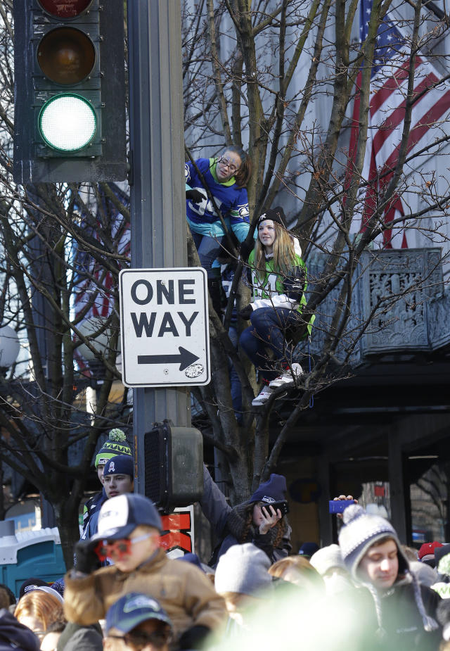 Seattle Seahawks fans watch during the Super Bowl champions parade on Wednesday, Feb. 5, 2014, in Seattle. The Seahawks beat the Denver Broncos 43-8 in NFL football's Super Bowl XLVIII on Sunday. (AP Photo/Ted S. Warren)
