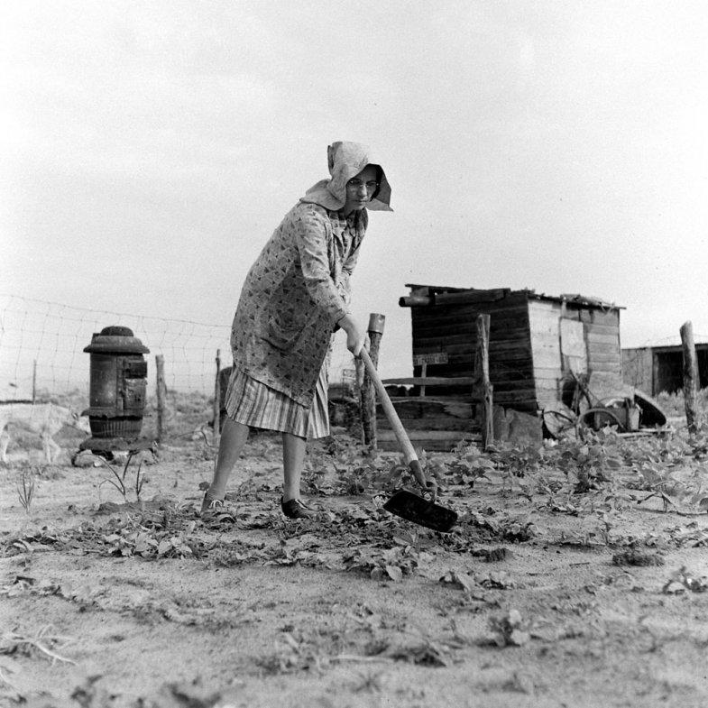 Not originally published in LIFE. Farmer John Barnett's wife, Venus, works in her vegetable garden after a second planting, Oklahoma, 1942. A windstorm earlier in the year blew the first seedlings away.