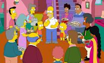 """<p><b>Coming Up: </b> A second Robot Chicken couch gag is on its way, but first: In the season premiere, <i>The Simpsons</i> meet up with <i>Adventure Time</i> for """"Simpsons Time,"""" with <i>AT</i> creator Pendleton Ward singing the revised theme song. <br><br><b>Guest Stars: </b> Seven-time Emmy winner Allison Janney, the cast of <i>Masters of Sex</i>, chess master Magnus Carlsen, historian Doris Kearns Goodwin, and comedian Patton Oswalt. <br><br><b>Special Episodes: </b> The 600th episode will also be the 27th """"Treehouse of Horror"""" and the centerpiece is a <i>Hunger Games</i>-esque dystopian future where Mr. Burns controls all the water in Springfield. The billionaire will also feature prominently in an episode where he builds Burns University – an institution with some not-coincidental parallels to the now-discredited Trump University. <br><br><b>Not Throwing Away His Shot: </b> Though they didn't get Lin Manuel-Miranda for their two-part, hip-hop <i>Great Gatsby</i> episode, showrunner Al Jean did get to meet the creator of <i>Hamilton</i> for two minutes after a performance. """"You couldn't ask for a nicer guy,"""" he says. """"He was really wonderful. He's a <i>Simpsons</i> fan!"""" <i>– RC</i> <br><br>(Credit: Fox)</p>"""