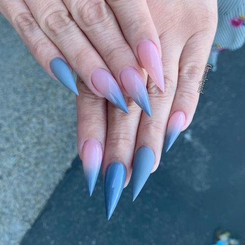 """<p>We're obviously going to love this manicure which combines our two favourite things: <a href=""""https://www.cosmopolitan.com/uk/beauty-hair/nails/g28604888/ombre-nails/"""" rel=""""nofollow noopener"""" target=""""_blank"""" data-ylk=""""slk:ombre"""" class=""""link rapid-noclick-resp"""">ombre</a> and stiletto nails. </p><p><a href=""""https://www.instagram.com/p/BvmI2N9A9Fq/"""" rel=""""nofollow noopener"""" target=""""_blank"""" data-ylk=""""slk:See the original post on Instagram"""" class=""""link rapid-noclick-resp"""">See the original post on Instagram</a></p>"""