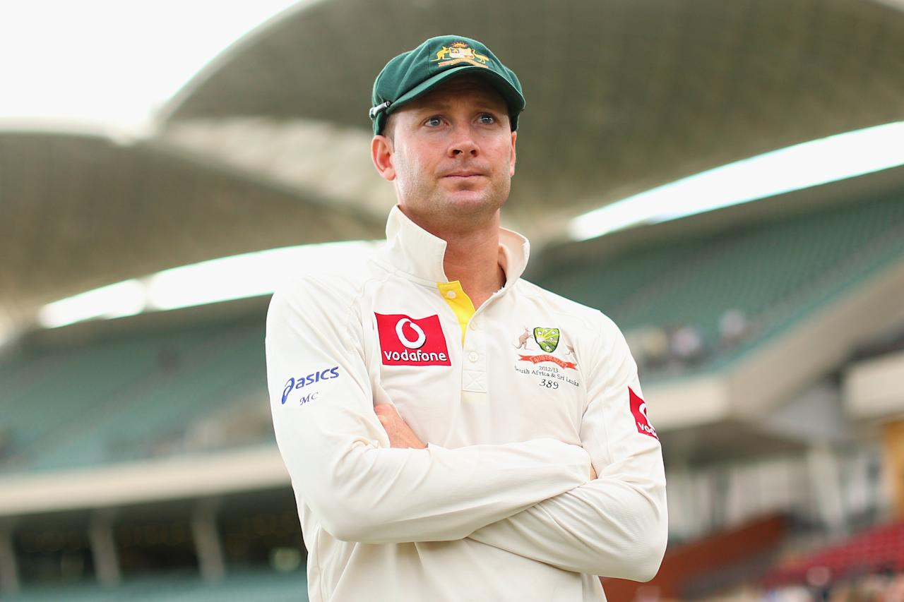 ADELAIDE, AUSTRALIA - NOVEMBER 26:  Australian captain Michael Clarke looks on following the end of play on day five of the Second Test Match between Australia and South Africa at Adelaide Oval on November 26, 2012 in Adelaide, Australia.  (Photo by Cameron Spencer/Getty Images)