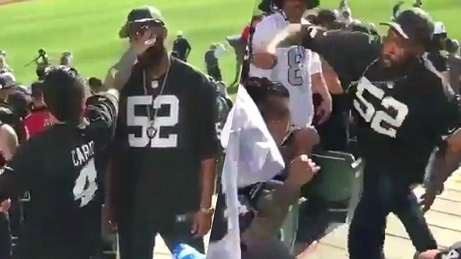this raiders fan picked a fight with a fellow raiders fan and it