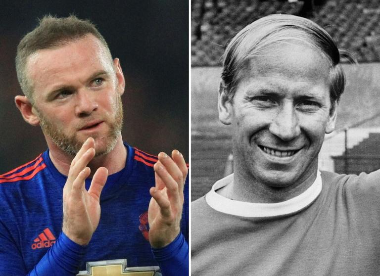 Manchester United's English striker Wayne Rooney (L) on January 21, 2017 and Manchester United's English striker Bobby Charlton (R) in Mexico City on May 25, 1970 Wayne Rooney became Manchester United's all-time leading scorer on January 21, 2017 after he surpassed Bobby Charlton's scoring record of 249 goals in all competitions by scoring his 250th to rescued a 1-1 draw at Stoke