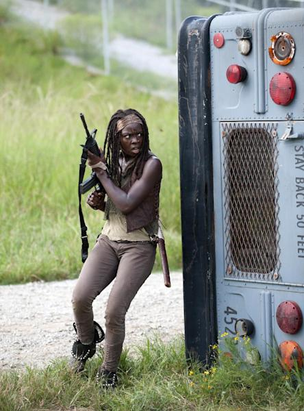 "This publicity image released by AMC shows Danai Gurira as Michonne in a scene from the series ""The Walking Dead,"" returning for a fourth season on Oct. 13. (AP Photo/AMC, Gene Page)"