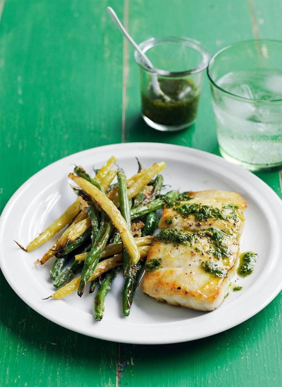 "<p>Freshen up your dinner menu with pan-seared fish and pesto.</p><p><a href=""https://www.womansday.com/food-recipes/food-drinks/recipes/a55777/cod-with-crispy-green-beans-recipe/"" rel=""nofollow noopener"" target=""_blank"" data-ylk=""slk:Get the Cod with Crispy Green Beans recipe."" class=""link rapid-noclick-resp""><em><strong>Get the Cod with Crispy Green Beans recipe.</strong></em></a></p>"