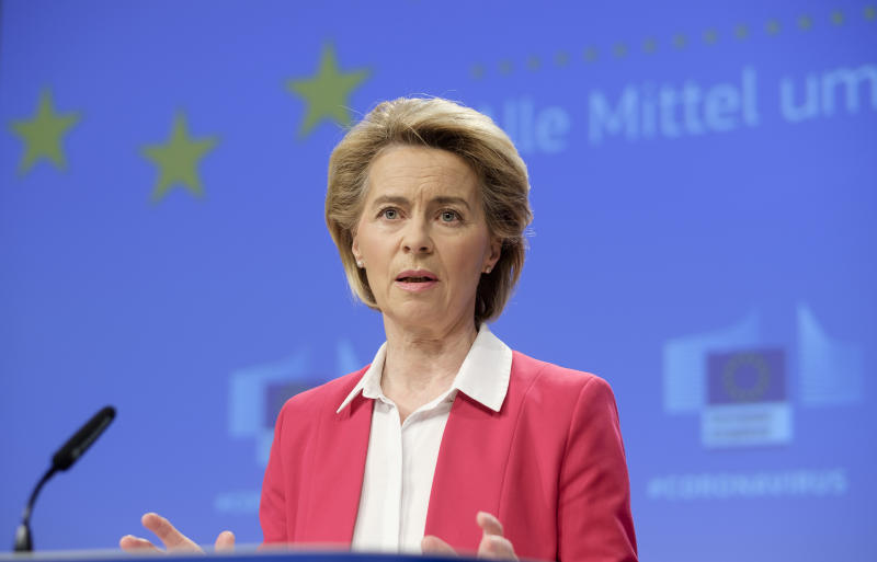 "02 April 2020, Belgium, Brüssel: 02.04.2020, Belgium, Brussels: President of the European Commission Ursula von der Leyenis talking to media in the Berlaymont, the EU Commission headquarters on April 2, 2020 in Brussels, Belgium. EU Commission President von der Leyen said: ""In this coronavirus crisis, only the strongest of responses will do. We must use every means at our disposal. Every available euro in the EU budget will be redirected to address it, every rule will be eased to enable the funding to flow rapidly and effectively. With a new solidarity instrument, we will mobilise ·100 billion to keep people in jobs and businesses running. With this, we are joining forces with Member States to save lives and protect livelihoods. This is European solidarity."" - NO WIRE SERVICE Photo: Thierry Monasse/dpa (Photo by Thierry Monasse/picture alliance via Getty Images)"