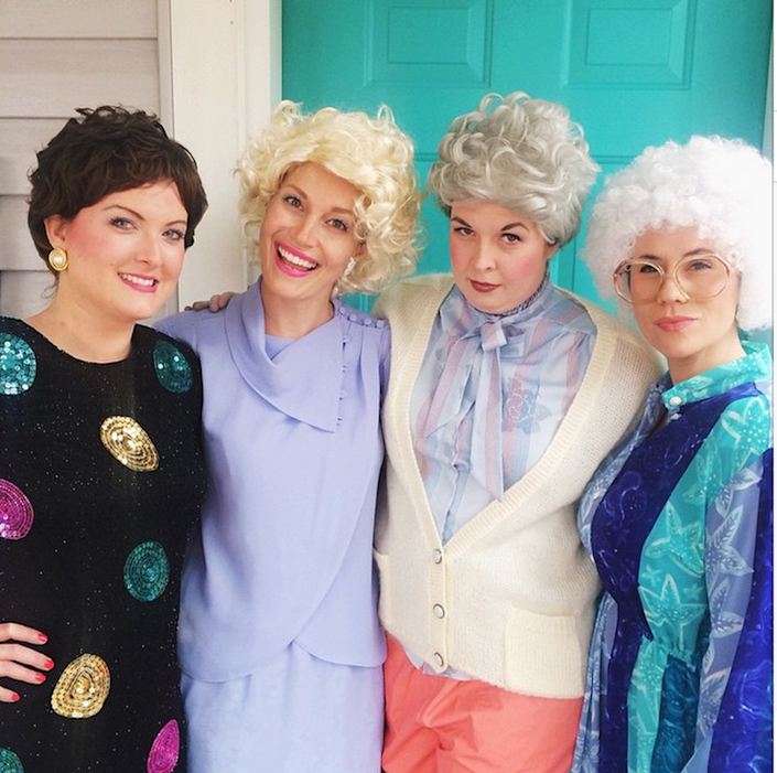 """<p>Who doesn't want to be The Golden Girls when they grow up? With a few wigs you and the crew don't have to wait.</p><p><strong>Get the tutorial at <a href=""""https://abeautifulmess.com/2014/10/happy-halloween.html"""" rel=""""nofollow noopener"""" target=""""_blank"""" data-ylk=""""slk:A Beautiful Mess"""" class=""""link rapid-noclick-resp"""">A Beautiful Mess</a>.</strong></p><p><a class=""""link rapid-noclick-resp"""" href=""""https://www.amazon.com/golden-girls-wigs/s?k=golden+girls+wigs&tag=syn-yahoo-20&ascsubtag=%5Bartid%7C10050.g.32906192%5Bsrc%7Cyahoo-us"""" rel=""""nofollow noopener"""" target=""""_blank"""" data-ylk=""""slk:SHOP WIGS"""">SHOP WIGS</a><br></p>"""