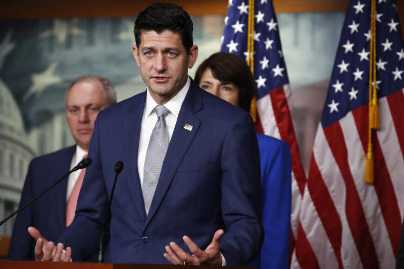 "House Speaker Paul Ryan of Wis., speaks during a news conference, Thursday, Sept. 13, 2018, in Washington. Behind him are House Majority Whip Steve Scalise, R-La., and Rep. Cathy McMorris Rodgers, R-Wash., right.  Ryan is rejecting President Donald Trump's assertion an official government death toll for last year's hurricane in Puerto Rico is wrong. The Wisconsin Republican says he has ""no reason to dispute"" a study that found nearly 3,000 people on the island died from Hurricane Maria last year. (AP Photo/Jacquelyn Martin)"