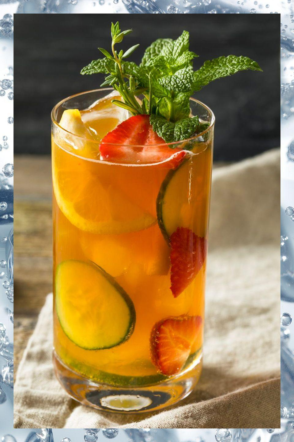 """<p>The first official Pimm's bar <a href=""""https://www.townandcountrymag.com/leisure/drinks/a9967357/pimms-cup-recipe/"""" rel=""""nofollow noopener"""" target=""""_blank"""" data-ylk=""""slk:popped up at the 1971 Wimbledon tournament"""" class=""""link rapid-noclick-resp"""">popped up at the 1971 Wimbledon tournament</a>, and now more than 80,000 pints of the quintessential British summer cocktail are served to spectators every year. Here's the official recipe courtesy of Pimm's:</p><p>- 50 ml (about 1.75 oz) Pimm's No.1<br>- 150 ml (about 5 oz) lemonade<br>- Mint, orange, strawberries<br>- Cucumber to garnish</p><p><em>Pile all the ingredients in a tall glass, mix, and sip.</em></p>"""