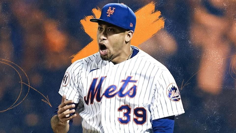 Edwin Diaz TREATED ART celebrating after save home pinstripes June 2021