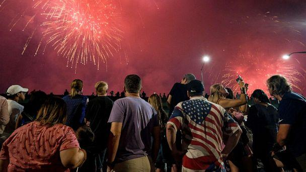 PHOTO: In this file photo from July 4, 2018, spectators watch a fireworks display as part of Independence Day festivities in New York. (Craig Ruttle/AP, FILE)