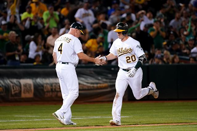"The unpredictability of baseballs going forward will make it hard to evaluate the numbers of players like Oakland's <a class=""link rapid-noclick-resp"" href=""/mlb/players/9898/"" data-ylk=""slk:Mark Canha"">Mark Canha</a> (20). (Photo by Daniel Shirey/MLB Photos via Getty Images)"