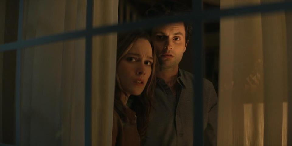 """Victoria Pedretti and Penn Badgley in """"You"""" - Credit: Courtesy of Netflix"""