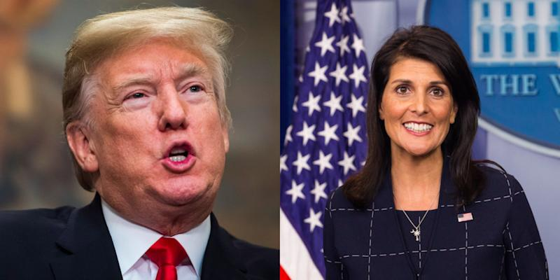 """""""I think any woman who has felt violated or felt mistreated in any way -- they have every right to speak up,"""" U.S. Ambassador to the United Nations Nikki Haley said when asked about women accusing President Donald Trump of sexual misconduct."""