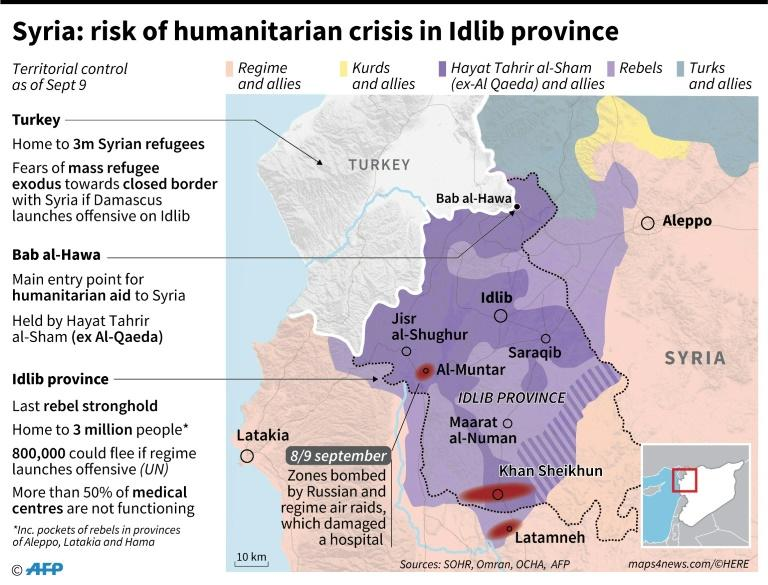Map locating weekend air raids and territorial control in Idlib province, Syria, with data on the risk of a humanitarian crisis