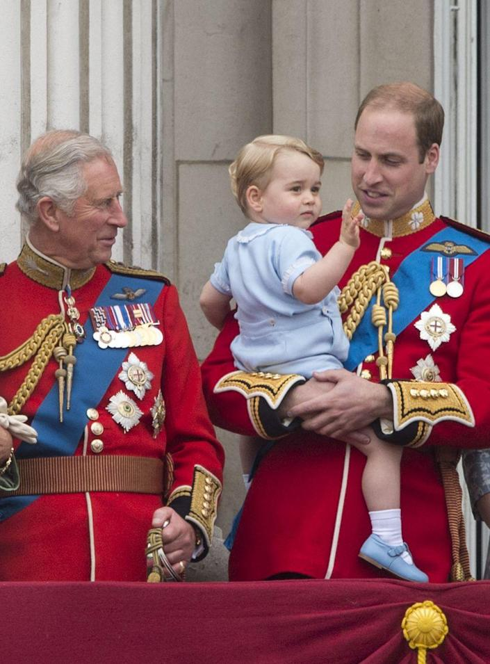 """<p>Waving from the balcony of his first Trooping the Colour. </p><p><strong>Read More:</strong> <a href=""""https://www.townandcountrymag.com/society/tradition/a10016954/trooping-the-colour-facts/"""" rel=""""nofollow noopener"""" target=""""_blank"""" data-ylk=""""slk:What is Trooping the Colour?"""" class=""""link rapid-noclick-resp"""">What is Trooping the Colour?</a><br></p>"""