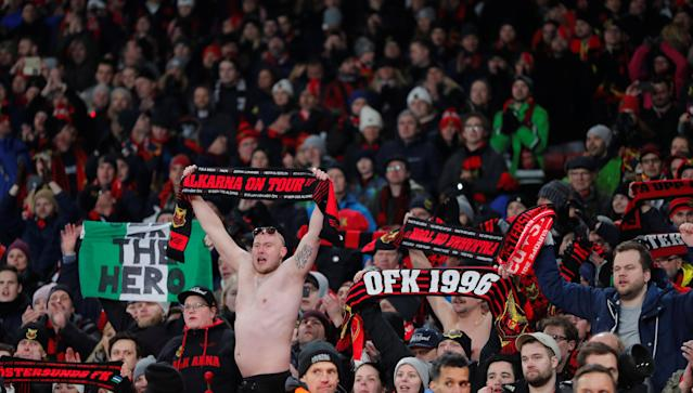 Soccer Football - Europa League Round of 32 Second Leg - Arsenal vs Ostersunds FK - Emirates Stadium, London, Britain - February 22, 2018 Ostersunds FK fans celebrate after the match REUTERS/Eddie Keogh