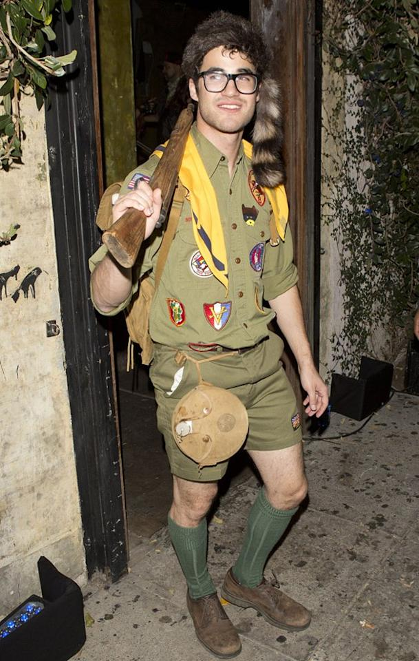 "Darren Criss dressed as ""Moonrise Kingdom's"" Sam for a Halloween bash thrown by his ""Glee"" castmate Matthew Morrison in L.A. The costume was pretty authentic, right down to the furry hat! (10/29/2012)"