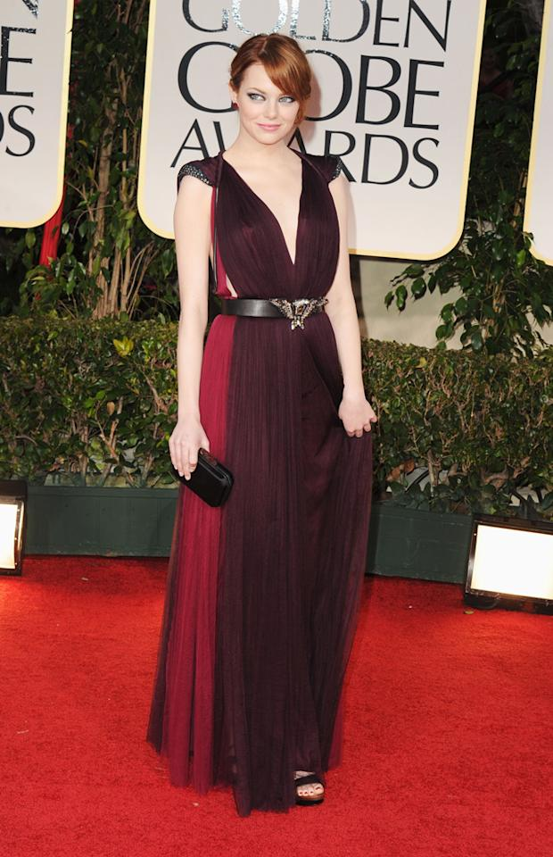 Emma Stone arrives at the 69th Annual Golden Globe Awards in Beverly Hills, California, on January 15.