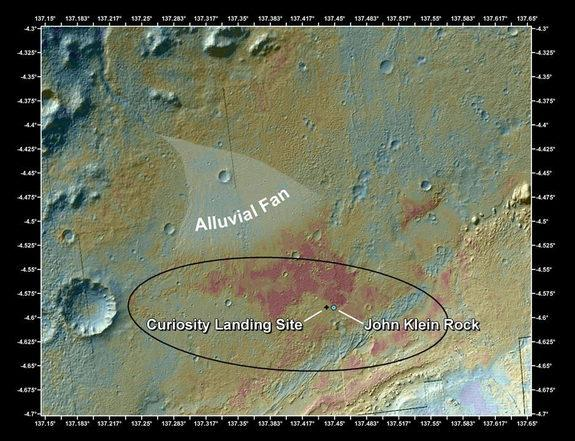 "This false-color map shows the area within Gale Crater on Mars, where NASA's Curiosity rover landed on Aug. 5, 2012 PDT (Aug. 6, 2012 EDT) and the location where Curiosity collected its first drilled sample at the ""John Klein"" rock. Image relea"