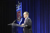 NFL VP of Communication Brian McCarthy is seen at a press conference for the Super Bowl Halftime Show on Thursday, February 2, 2017 in Houston, TX. (AP Photo/Gregory Payan)