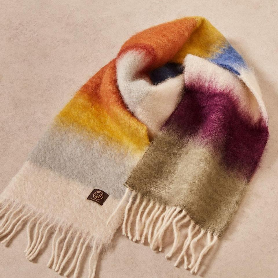 "Inspired by colors found throughout Matisse's body of work, this eye-catching wool scarf will keep them warm and stylish throughout holiday season and beyond. $100, Goodee. <a href=""https://www.goodeeworld.com/collections/workspace/products/matisse-scarf-hm-4"" rel=""nofollow noopener"" target=""_blank"" data-ylk=""slk:Get it now!"" class=""link rapid-noclick-resp"">Get it now!</a>"